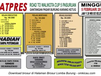 Brosur Latpres Burung Berkicau Road to Wali Kota Cup 5 Pasuruan, 5 Februari 2017