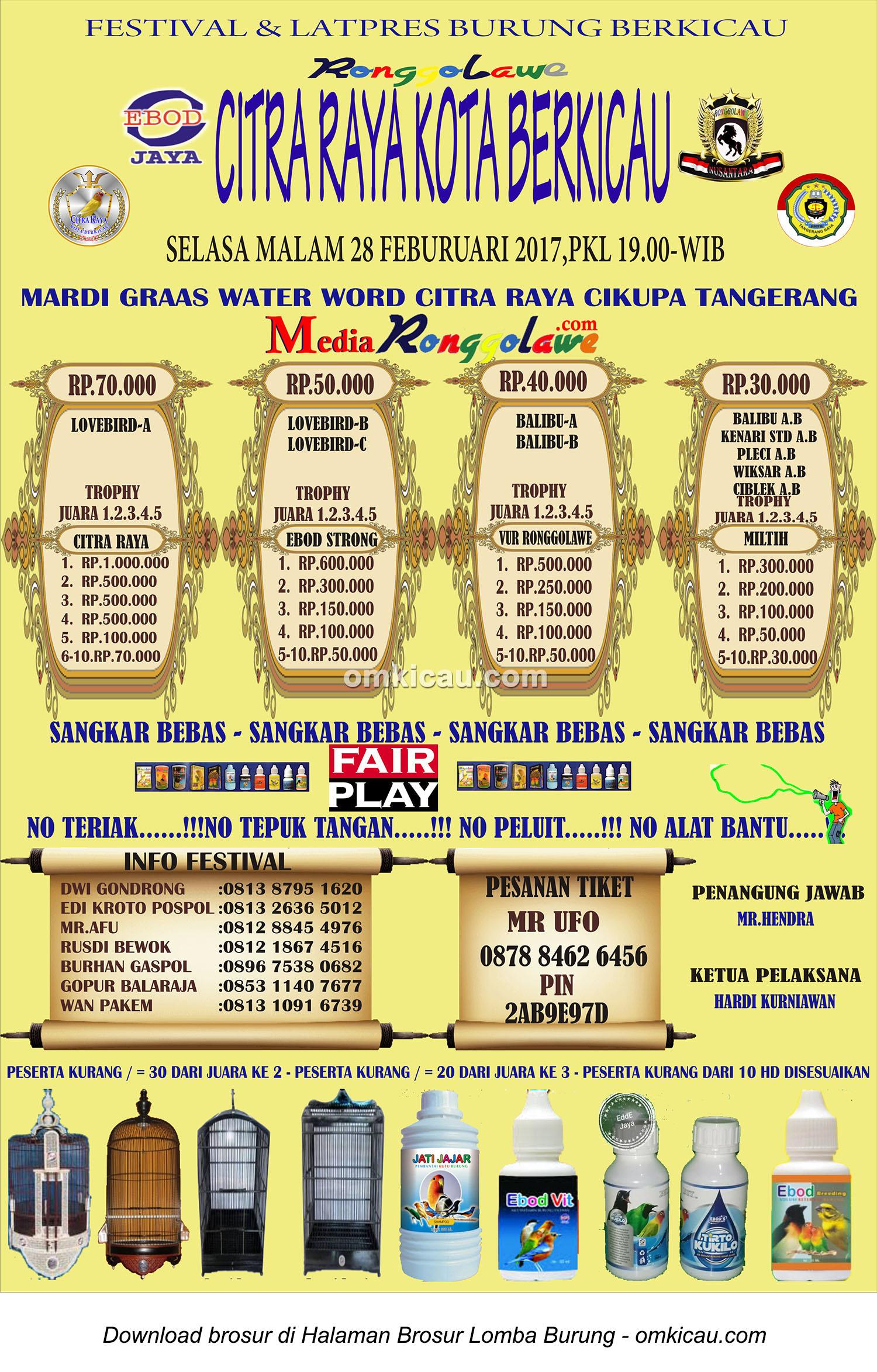 Brosur Latpres Citra Raya Kota Berkicau Tangerang 28 Februari 2017