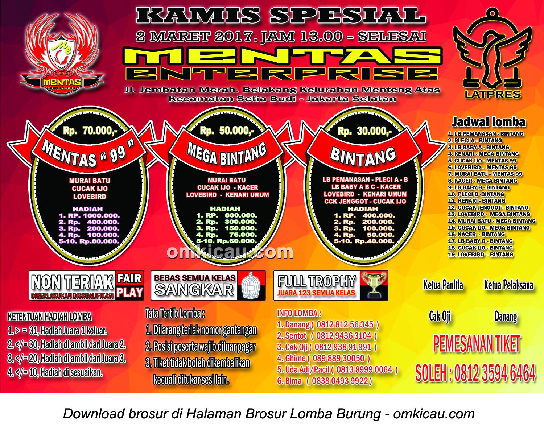 Brosur Latpres Kamis Spesial Mentas Enterprise, Jakarta Selatan, 2 Maret 2017