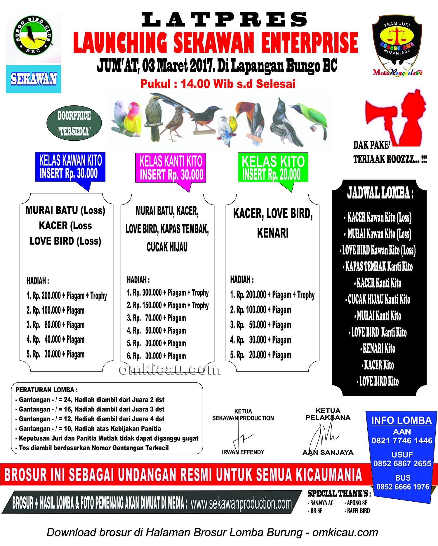 Brosur Latpres Launching Sekawan Enterprise, Bungo, 3 Maret 2017