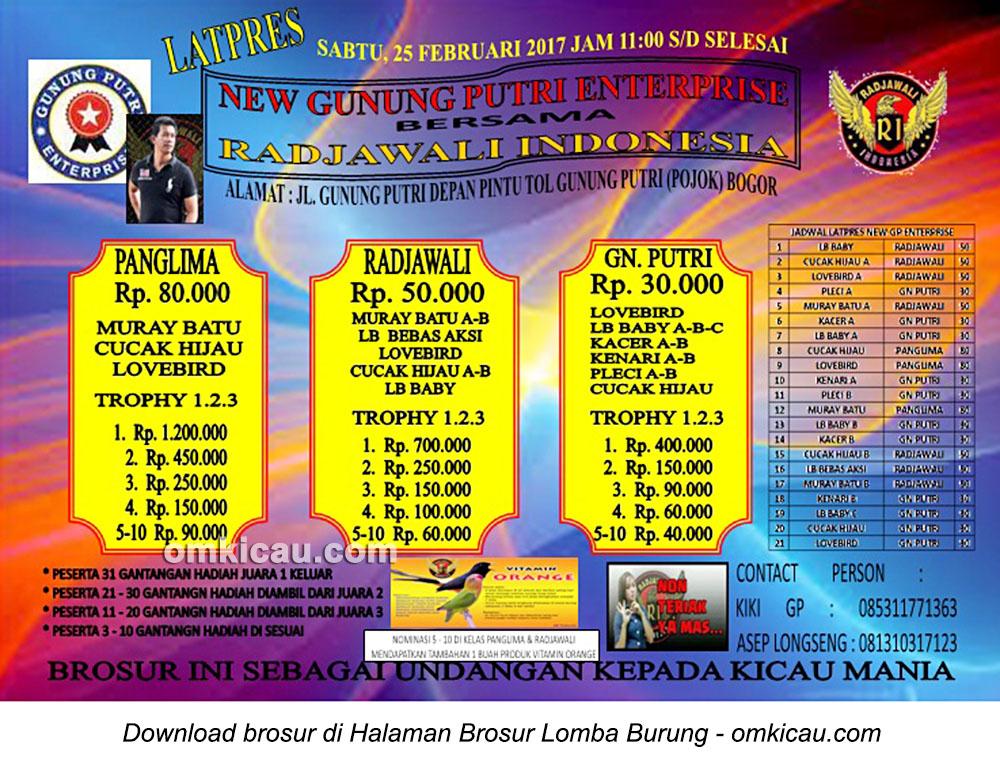 Brosur Latpres New Gunung Putri Enterprise bersama Radjawali Indonesia, Bogor, 25 Februari 2017