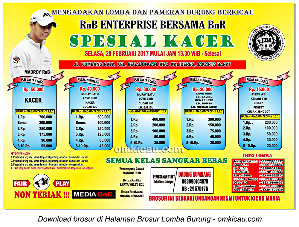 Brosur Latpres Spesial Kacer RnB Enterprise bersama BnR, Jakarta Barat, 28 Februari 2017