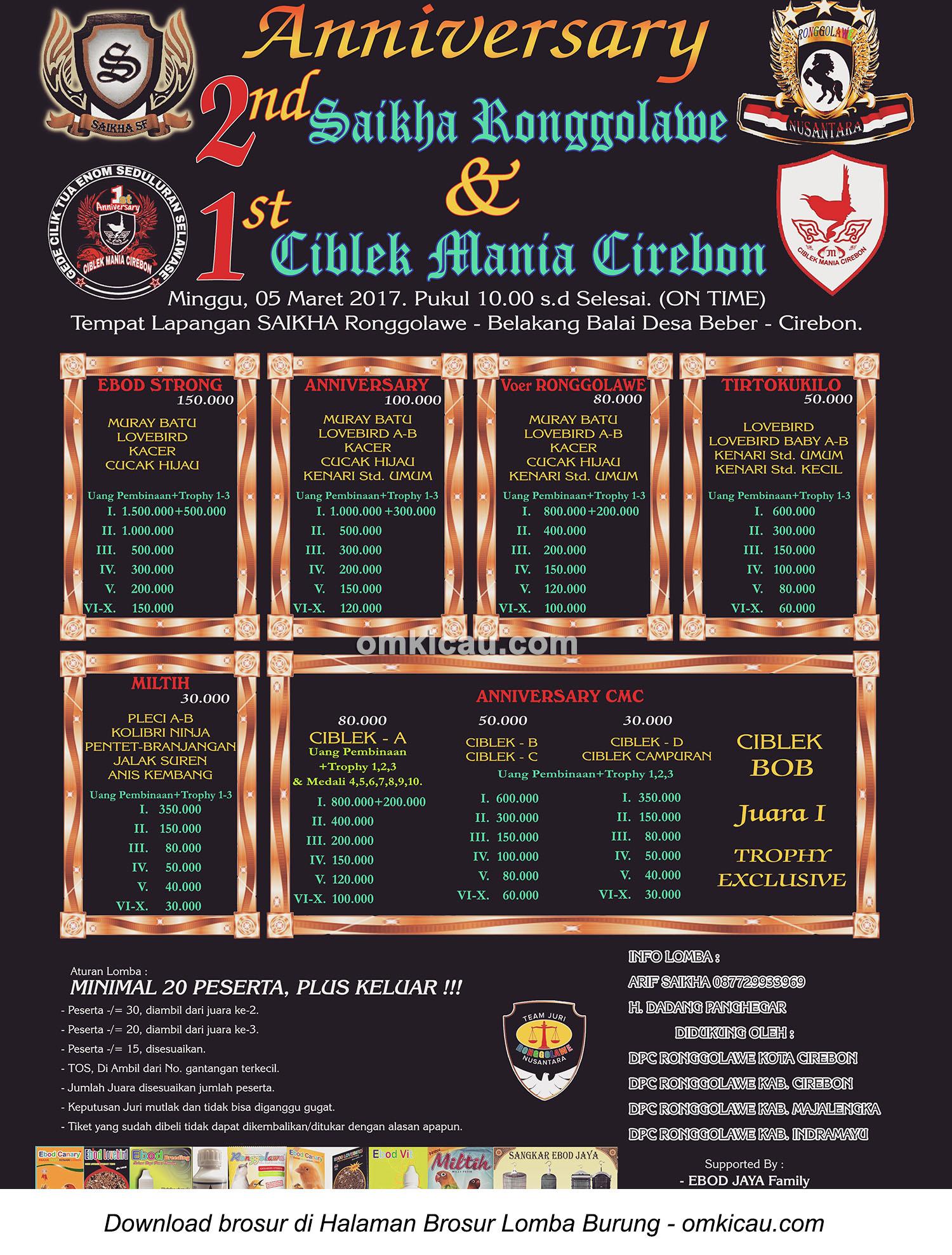 Brosur Lomba Burung Berkicau 2nd Anniversary Saikha Ronggolawe Cirebon 5 Mare