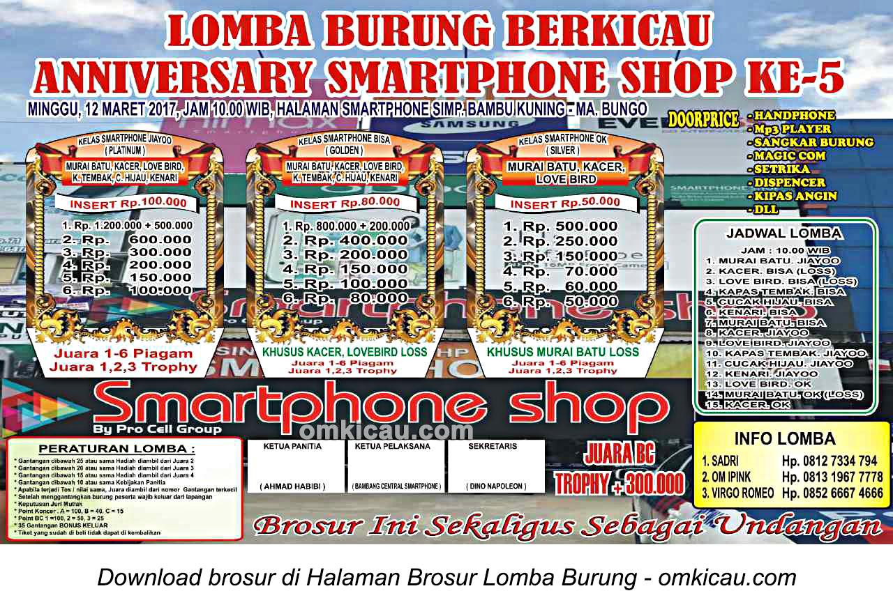 Brosur Lomba Burung Berkicau Anniversary Smartphone Shop Ke-5, Muara Bungo, 12 Maret 2017