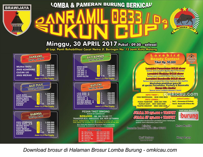 Brosur Lomba Burung Berkicau Danramil 0833 Sukun Cup, Kota Malang, 30 April 2017