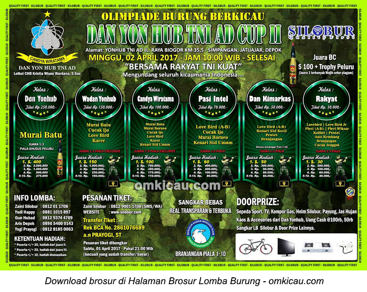 Brosur Lomba Burung Berkicau Danyon Hub TNI AD Cup II, Depok, 2 April 2017