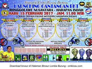 Brosur Lomba Burung Berkicau Launching Gantangan BKT, Bekasi, 15 Februari 2017