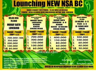 Brosur Lomba Burung Berkicau Launching New NSA BC, Cirebon, 8 Maret 2017