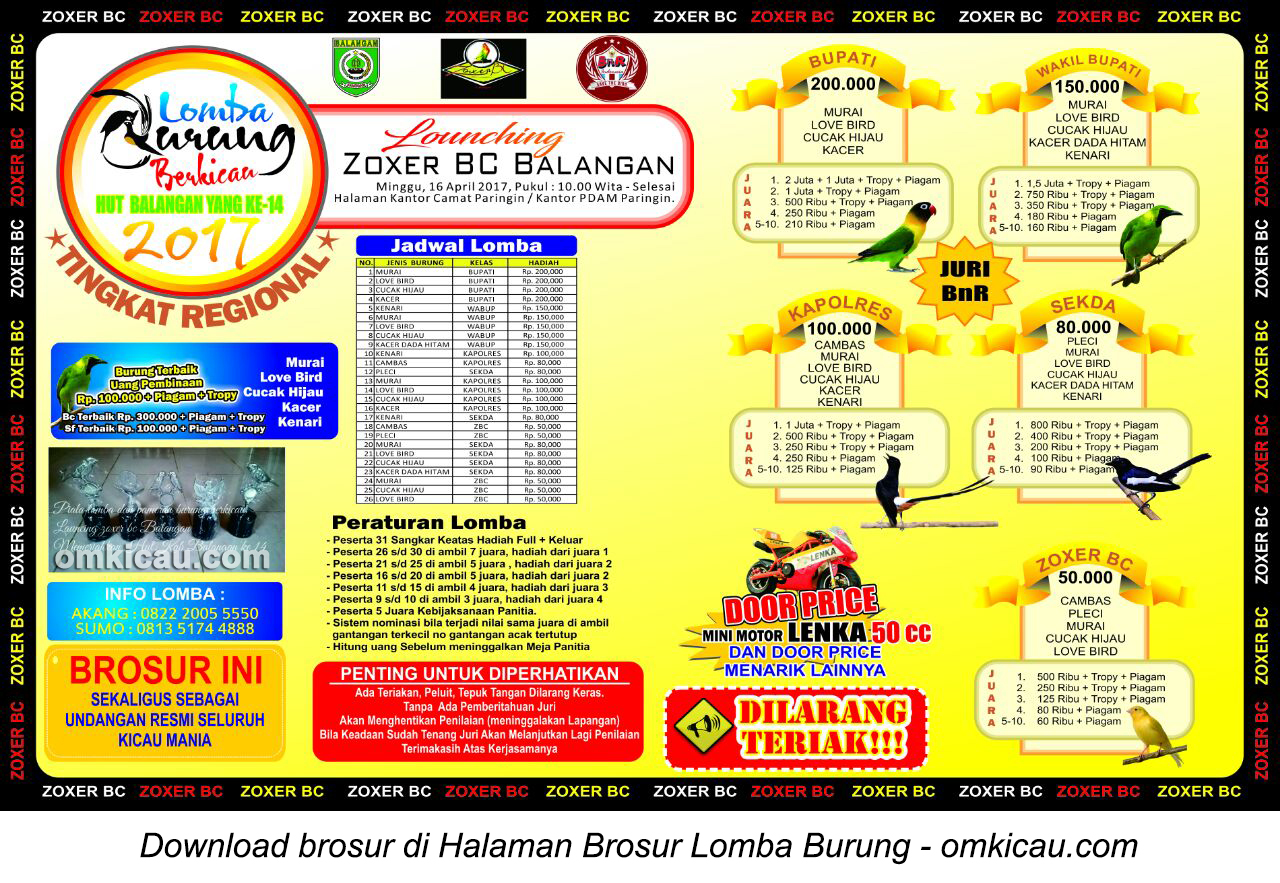 Brosur Lomba Burung Berkicau Launching Zoxer BC Balangan, Kalsel, 16 April 2017