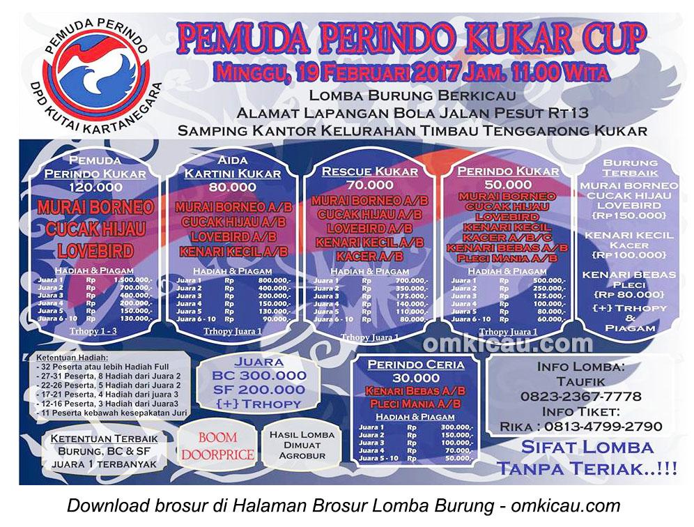 Brosur Lomba Burung Berkicau Pemuda Perindo Kukar Cup, Tenggarong, 19 Februari 2017