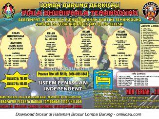 Brosur Lomba Burung Berkicau Piala Bhumiphala Temanggung, 26 Februari 2017
