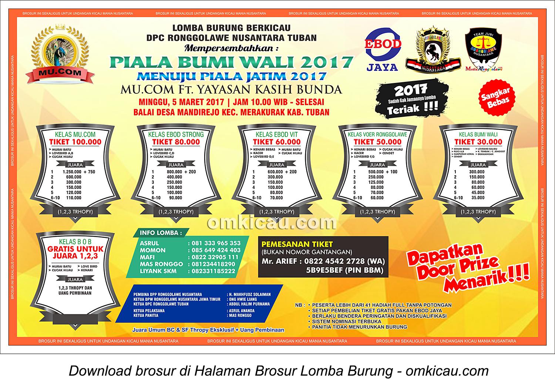 Brosur Lomba Burung Berkicau Piala Bumi Wali, Tuban, 5 Maret 2017