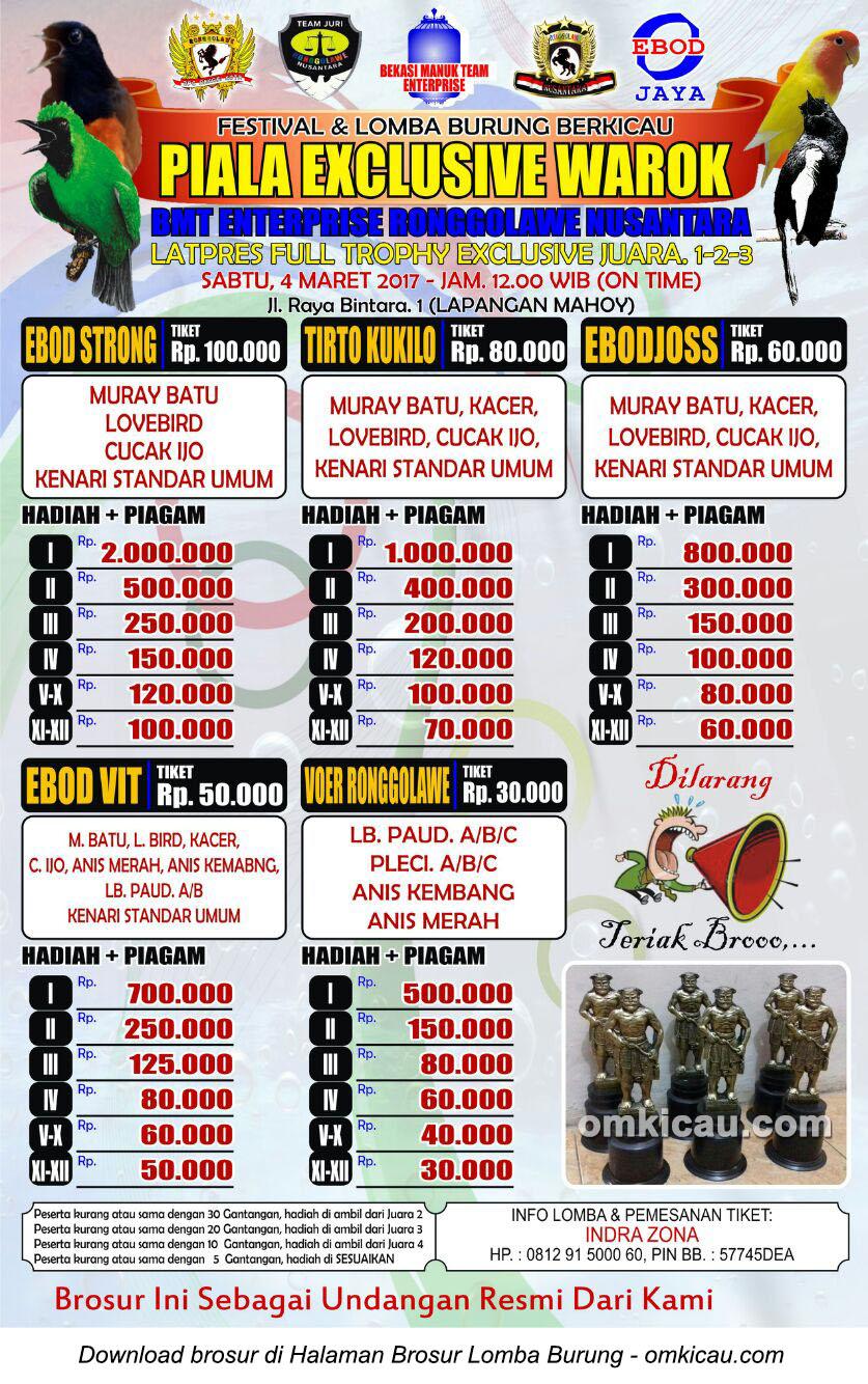 Brosur Lomba Burung Berkicau Piala Exclusive Warok-BMT Enterprise, Bekasi, 4 Maret 2017