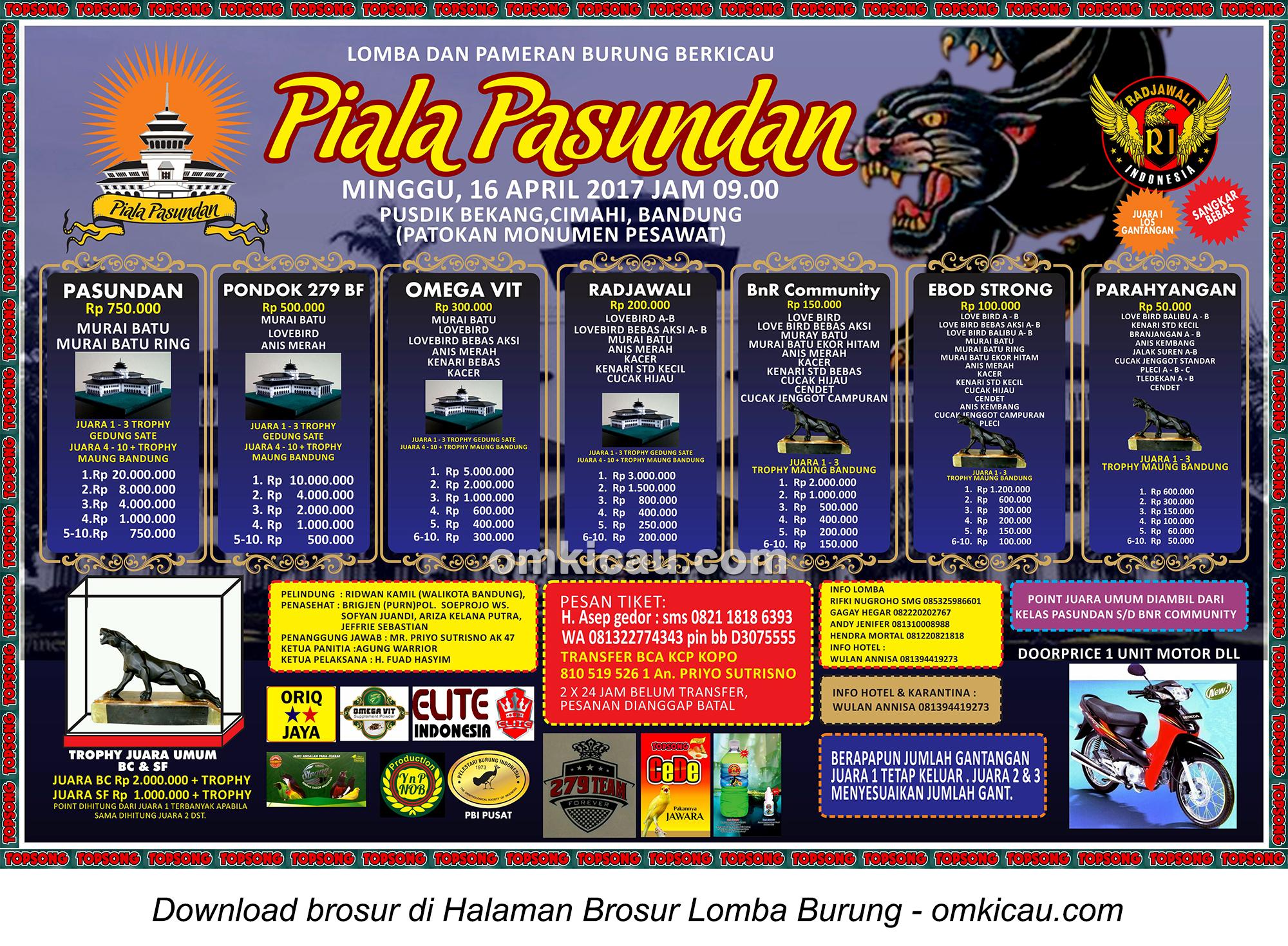Brosur Lomba Burung Berkicau Piala Pasundan, Bandung, 16 April 2017