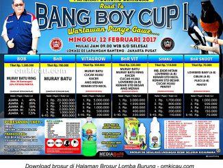 Brosur Lomba Burung Berkicau Road to Bang Boy Cup I-Wartawan Punya Gawe, Jakarta, 12 Februari 2017