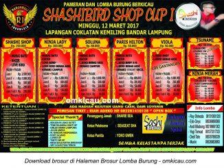 Brosur Lomba Burung Berkicau Sashi Bird Shop Cup I, Bandarlampung, 12 Maret 2017