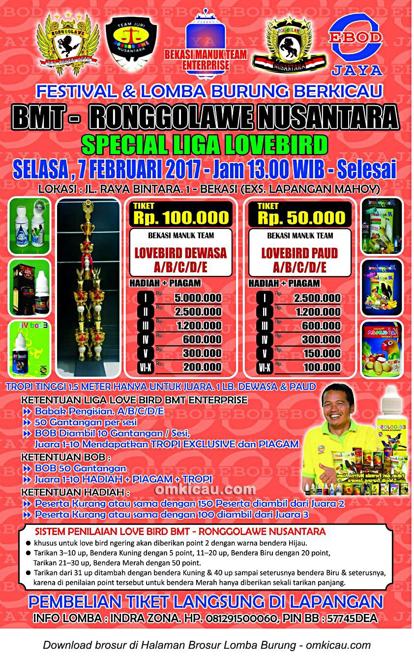 Brosur Lomba Special Liga Lovebird BMT Ronggolawe Nusantara, Bekasi, 7 Februari 2017