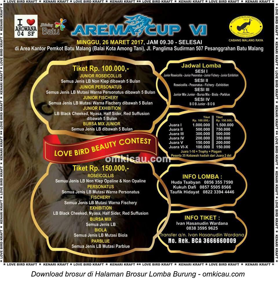 Brosur Lovebird Beauty Contest Arema Cup VI, Batu-Malang, 26 Maret 2017