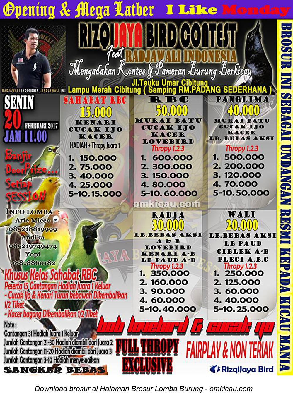 Brosur Mega Latber RizqiJaya Bird Contest feat Radjawali Indonesia, Bekasi, 20 Februari 2017