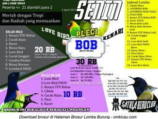 Brosur Latber Burung Berkicau Satria Bird Club Tersono, Batang, 3 April 2017