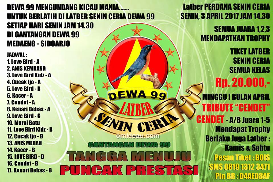 Brosur Latber Perdana Senin Ceria Dewa 99, Sidoarjo, 3 April 2017