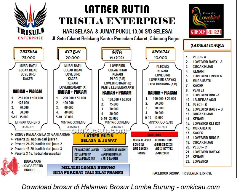 Brosur Latber Rutin Trisula Enterprise Bogor setiap Selasa dan Jumat siang