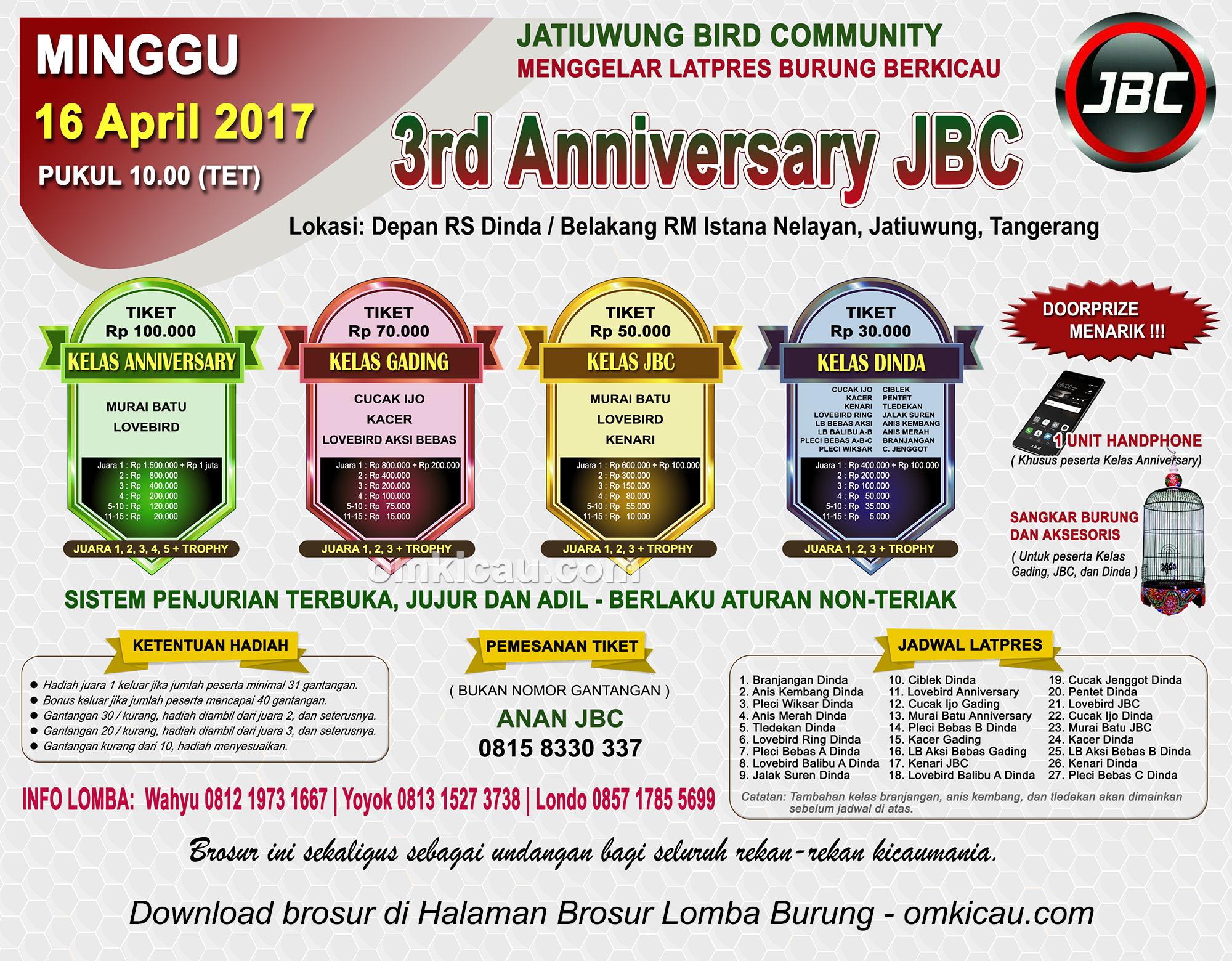 Brosur Latpres Burung Berkicau 3rd Anniversary JBC, Tangerang, 16 April 2017