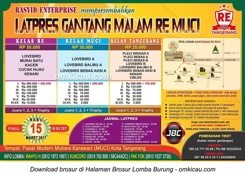 Brosur Latpres Gantang Malam RE Muci, Tangerang, 15 Maret 2017