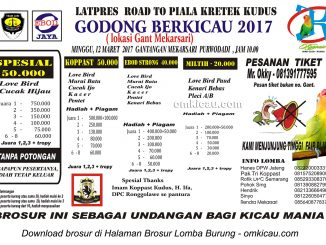 Brosur Latpres Godong Berkicau - Road to Piala Kretek, Purwodadi, 12 Maret 2017