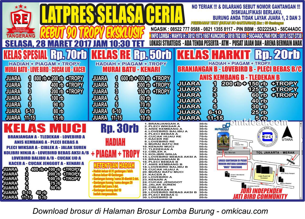 Brosur Latpres Selasa Ceria RE Muci, Tangerang, 28 Maret 2017