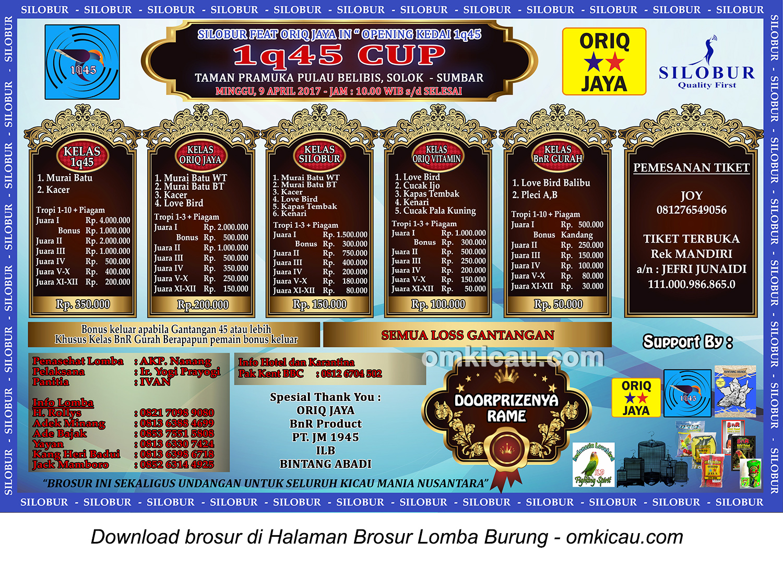 Brosur Lomba Burung Berkicau 1q45 Cup Silobur feat Oriq Jaya, Solok, 9 April 2017