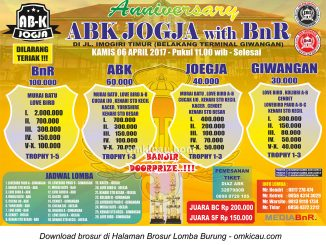 Brosur Lomba Burung Berkicau Anniversary ABK Jogja with BnR, Jogja, 6 April 2017