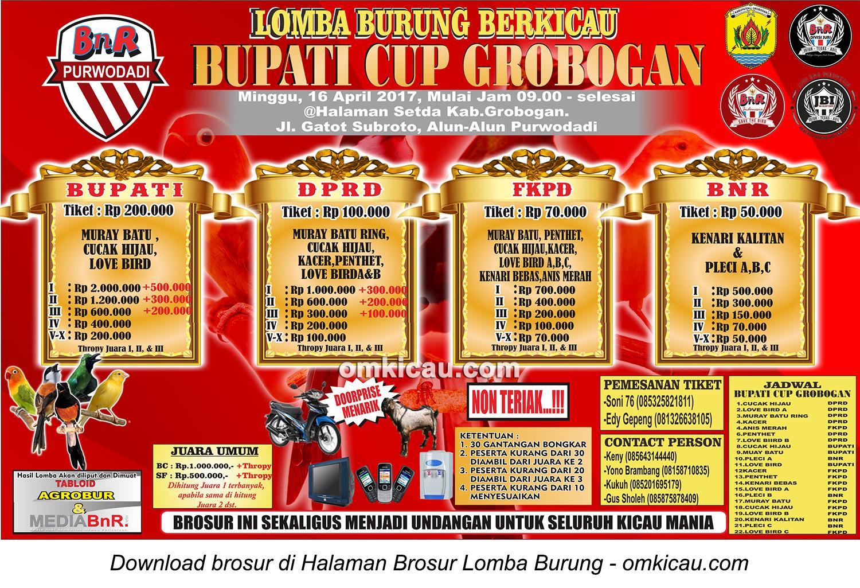 Brosur Lomba Burung Berkicau Bupati Cup, Grobogan, 16 April 2017