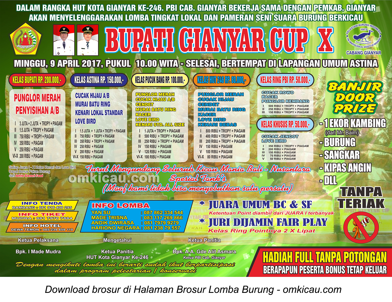 Brosur Lomba Burung Berkicau Bupati Gianyar Cup X, 9 April 2017