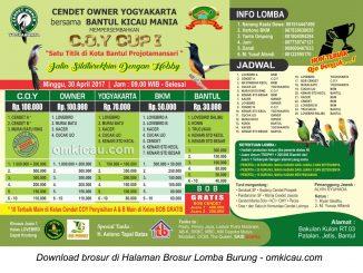 Brosur Lomba Burung Berkicau COY Cup I, Bantul, 30 April 2017