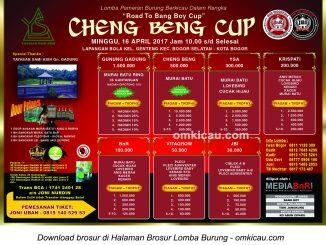 Brosur Lomba Burung Berkicau Cheng Beng Cup-Road to Bang Boy Cup I, Kota Bogor, 16 April 2017
