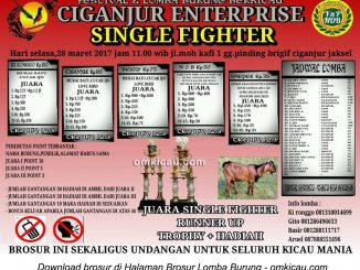 Brosur Lomba Burung Berkicau Ciganjur Enterprise Single Fighter, Jakarta Selatan, 28 Maret 2017