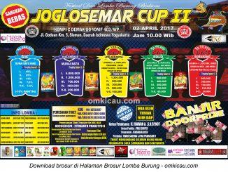 Brosur Lomba Burung Berkicau Joglosemar Cup II, Jogja, 2 April 2017