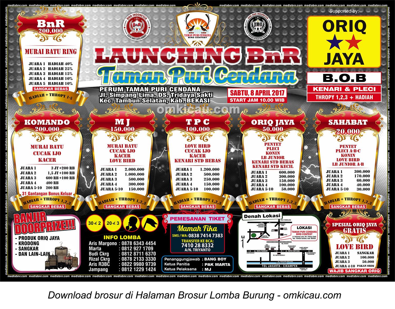 Brosur Lomba Burung Berkicau Launching BnR Taman Puri Cendana, Bekasi, 8 April 2017