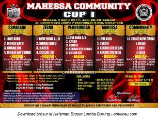 Brosur Lomba Burung Berkicau Mahesa Community Cup I, Semarang, 2 April 2017