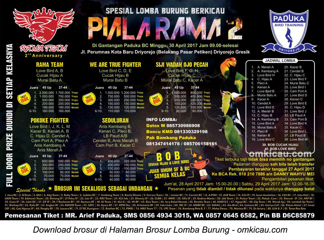 Brosur Lomba Burung Berkicau Piala Rama 2, Gresik, 30 April 2017