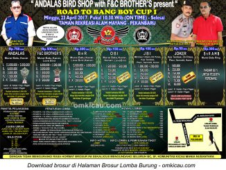 Brosur Lomba Burung Berkicau Road to Bang Boy Cup I, Pekanbaru, 23 April 2017