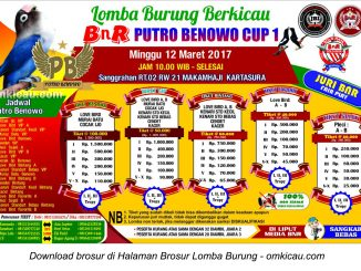 Brosur Revisi Lomba Burung Berkicau BnR Putro Benowo Cup 1, Kartasura, 12 Maret 2017