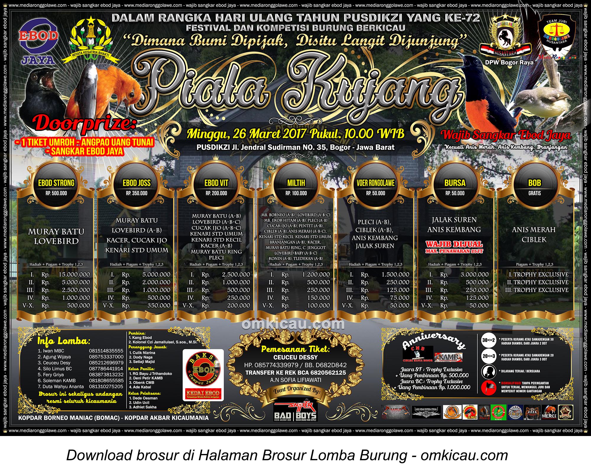 Brosur Terbaru Lomba Burung Berkicau Piala Kujang, Bogor, 26 Maret 2017