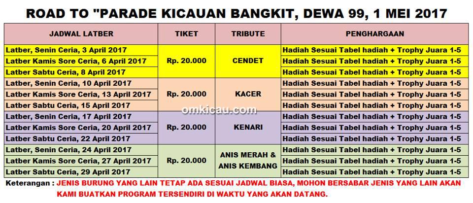 Dewa 99-Jadwal road to Parade Kicauan Bangkit