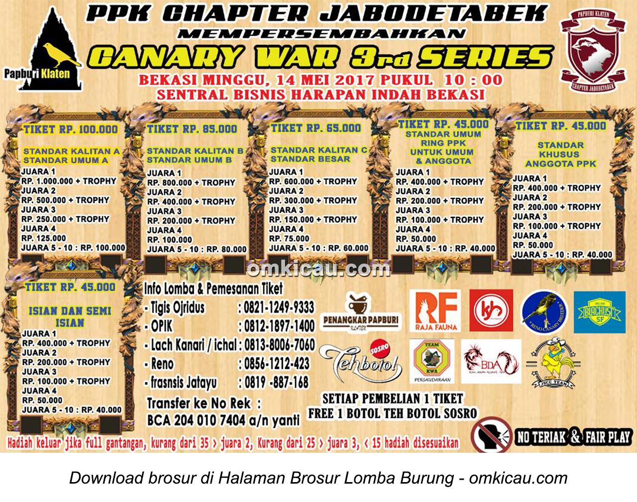 Brosur Canary War 3rd Series - PPK Jabodetabek, Bekasi, 14 Mei 2017