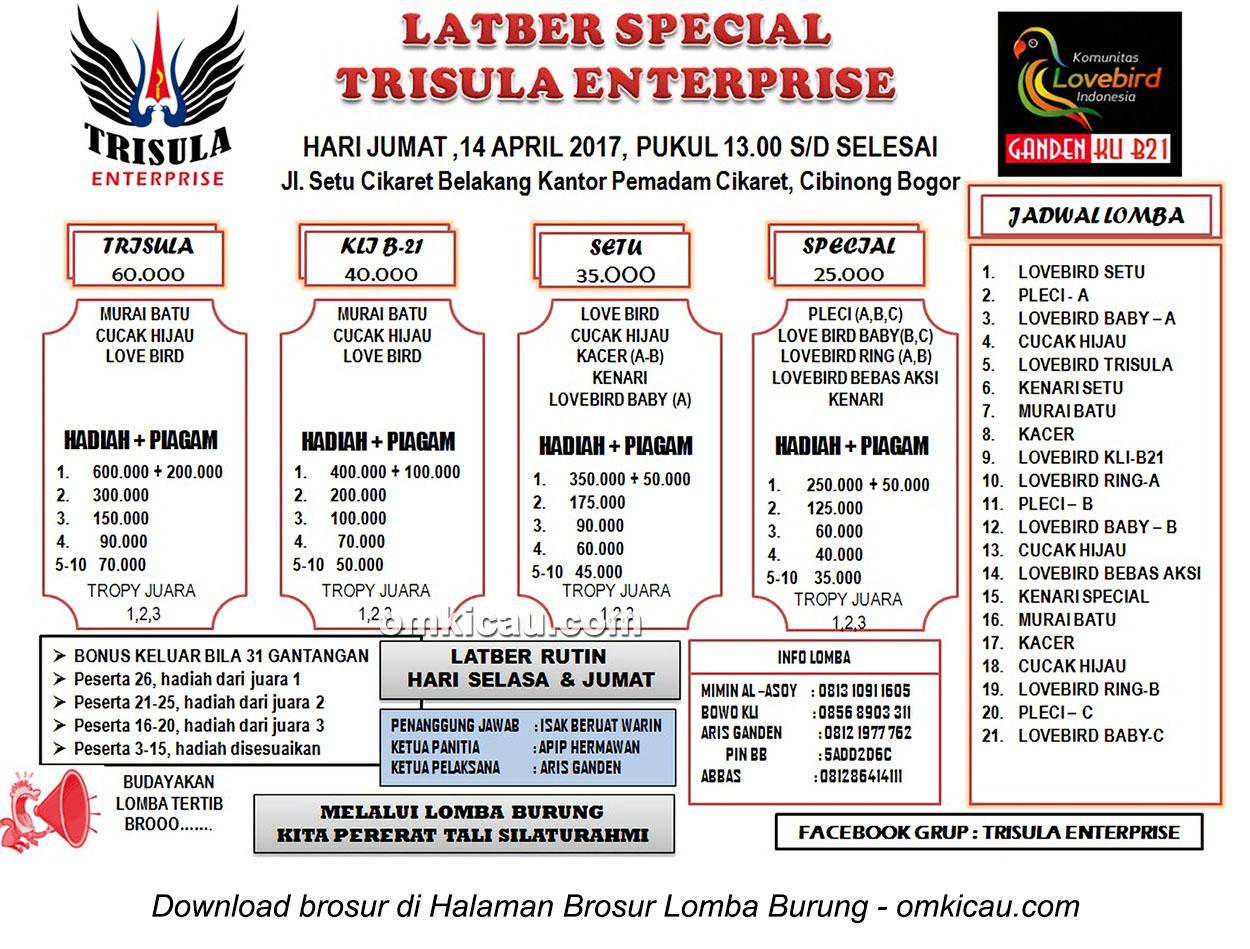 Brosur Latber Special Trisula Enterprise, Bogor, 14 April 2017