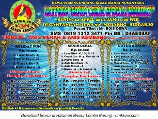 Brosur Latpres Dewa 99 - Senin Ceria Special Holiday, Sidoarjo, 24 April 2017