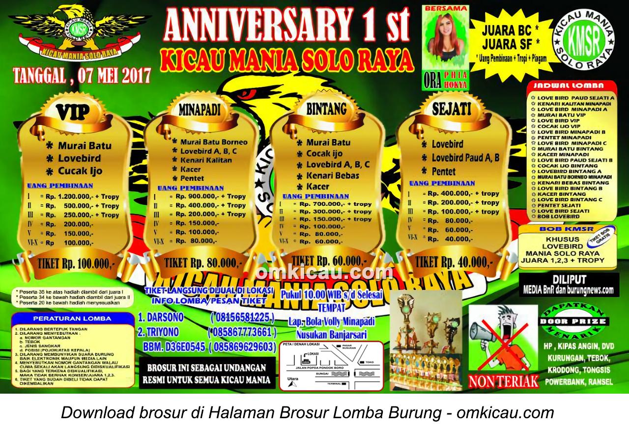 Brosur Lomba Burung Berkicau 1st Anniversary Kicau Mania Solo Raya, Solo, 7 Mei 2017