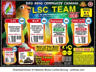 Brosur Lomba Burung Berkicau BSC feat LSC Team, Cikarang, 16 April 2017